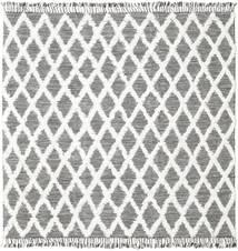 Inez - Tummanruskea/Valkoinen Matto 250X250 Moderni Käsinkudottu Neliö Vaaleanharmaa/Beige Isot (Villa, Intia)