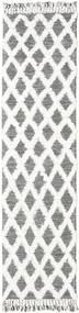 Inez - Tummanruskea/Valkoinen Matto 80X300 Moderni Käsinkudottu Käytävämatto Vaaleanharmaa/Valkoinen/Creme (Villa, Intia)