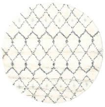 Sauda - Natural Harmaa Matto Ø 150 Moderni Käsinsolmittu Pyöreä Beige/Valkoinen/Creme (Villa, Intia)