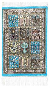 Ghom Silkki Matto 30X40 Itämainen Käsinsolmittu Beige/Tummanharmaa/Vaaleanharmaa (Silkki, Persia/Iran)