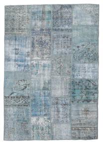 Patchwork Matto 139X201 Moderni Käsinsolmittu Vaaleansininen/Vaaleanharmaa/Sininen (Villa, Turkki)