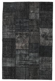 Patchwork Matto 196X304 Moderni Käsinsolmittu Musta/Tummanharmaa (Villa, Turkki)