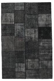 Patchwork Matto 196X301 Moderni Käsinsolmittu Musta/Tummanharmaa (Villa, Turkki)