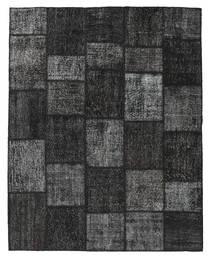 Patchwork Matto 198X249 Moderni Käsinsolmittu Musta/Tummanharmaa (Villa, Turkki)