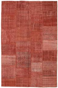 Patchwork Matto 196X304 Moderni Käsinsolmittu Tummanpunainen/Ruoste (Villa, Turkki)