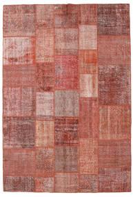 Patchwork Matto 205X301 Moderni Käsinsolmittu Tummanpunainen/Ruskea (Villa, Turkki)