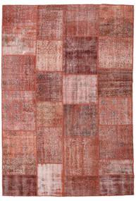 Patchwork Matto 198X290 Moderni Käsinsolmittu Tummanpunainen/Ruskea (Villa, Turkki)