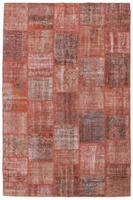 Patchwork Matto 198X301 Moderni Käsinsolmittu Tummanpunainen/Vaaleanpunainen (Villa, Turkki)
