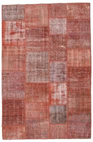Patchwork Matto 199X302 Moderni Käsinsolmittu Tummanpunainen/Ruskea (Villa, Turkki)