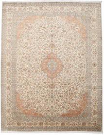 Kashmir 100% Silkki Matto 277X360 Itämainen Käsinsolmittu Vaaleanharmaa/Beige Isot (Silkki, Intia)