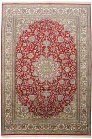 Kashmir 100% Silkki Matto 172X248 Itämainen Käsinsolmittu Vaaleanharmaa/Tummanpunainen (Silkki, Intia)