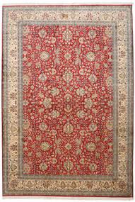 Kashmir 100% Silkki Matto 188X273 Itämainen Käsinsolmittu Ruskea/Tummanpunainen (Silkki, Intia)