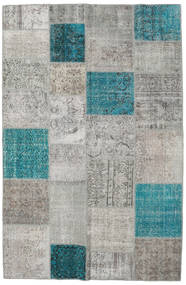 Patchwork Matto 196X301 Moderni Käsinsolmittu Vaaleanharmaa/Siniturkoosi (Villa, Turkki)
