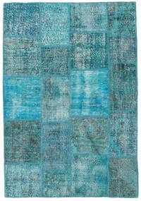Patchwork Matto 139X202 Moderni Käsinsolmittu Siniturkoosi/Tumma Turkoosi (Villa, Turkki)