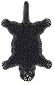 Leopard - Musta Matto 100X160 Moderni Tummanharmaa (Villa, Intia)