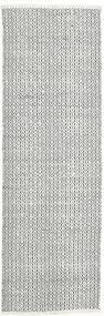 Alva - Valkoinen/Musta Matto 80X250 Moderni Käsinkudottu Käytävämatto Vaaleanharmaa/Beige (Villa, Intia)