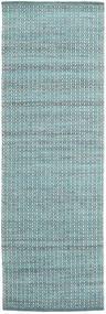 Alva - Turquoise/Valkoinen Matto 80X250 Moderni Käsinkudottu Käytävämatto Vaaleansininen/Tumma Turkoosi (Villa, Intia)