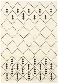 Berber Stick Shaggy Matto 156X208 Moderni Käsinsolmittu Beige/Valkoinen/Creme (Villa, Intia)
