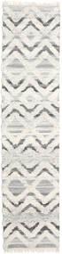 Lydia Matto 80X350 Moderni Käsinkudottu Käytävämatto Tummanbeige/Beige/Vaaleanharmaa (Villa, Intia)