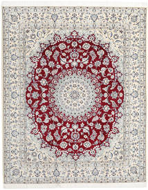 Nain 9La Matto 204X255 Itämainen Käsinsolmittu Vaaleanharmaa/Valkoinen/Creme (Villa/Silkki, Persia/Iran)