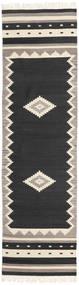 Tribal - Musta Matto 80X300 Moderni Käsinkudottu Käytävämatto Musta/Vaaleanharmaa (Villa, Intia)