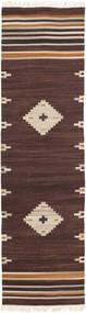 Tribal - Ruskea Matto 80X300 Moderni Käsinkudottu Käytävämatto Tummanruskea/Beige (Villa, Intia)