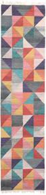 Caleido Matto 80X250 Moderni Käsinkudottu Käytävämatto Tummanharmaa/Vaaleanpunainen (Villa, Intia)