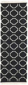 London - Musta/Valkea Matto 80X350 Moderni Käsinkudottu Käytävämatto Musta/Beige (Villa, Intia)