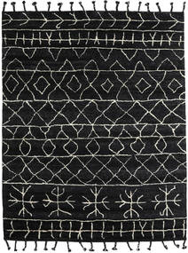 Moss Berber - Musta Matto 240X300 Moderni Käsinsolmittu Musta/Tummanharmaa (Villa, Intia)
