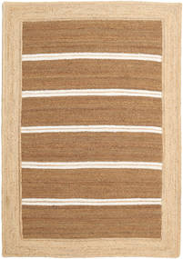 Ulkomatto Frida Stripe - Ruskea Matto 160X230 Moderni Käsinkudottu Tummanbeige/Beige/Vaaleanruskea (Juuttimatto Intia)