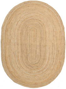 Frida Oval - Natural Matto 140X200 Moderni Käsinkudottu Tummanbeige/Beige ( Intia)