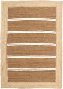 Ulkomatto Frida Stripe - Ruskea Matto 140X200 Moderni Käsinkudottu Tummanbeige/Beige/Vaaleanruskea (Juuttimatto Intia)