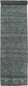 Gabbeh Loom Two Lines - Tummanharmaa/Vihreä Matto 80X350 Moderni Käytävämatto Tummanvihreä/Vaaleanharmaa (Villa, Intia)
