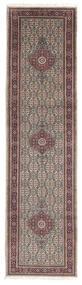 Moud Matto 79X298 Itämainen Käsinsolmittu Käytävämatto Vaaleanharmaa/Tummanruskea (Villa/Silkki, Persia/Iran)
