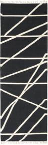 Cross Lines - Musta/Valkea Matto 80X250 Moderni Käsinkudottu Käytävämatto Tummanharmaa/Beige (Villa, Intia)