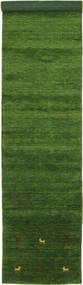 Gabbeh Loom Two Lines - Vihreä Matto 80X450 Moderni Käytävämatto Tummanvihreä (Villa, Intia)