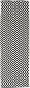 Torun - Musta/Neutral Matto 80X300 Moderni Käsinkudottu Käytävämatto Musta/Vaaleanharmaa (Puuvilla, Intia)