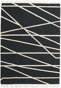 Cross Lines - Musta/Valkea Matto 160X230 Moderni Käsinkudottu Tummanharmaa/Beige (Villa, Intia)