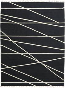 Cross Lines - Musta/Valkea Matto 250X350 Moderni Käsinkudottu Musta Isot (Villa, Intia)
