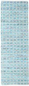 Elna - Bright_Blue Matto 80X350 Moderni Käsinkudottu Käytävämatto Vaaleansininen/Siniturkoosi (Puuvilla, Intia)