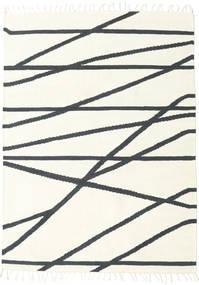Cross Lines - Valkea/Musta Matto 160X230 Moderni Käsinkudottu Beige/Tummanharmaa (Villa, Intia)