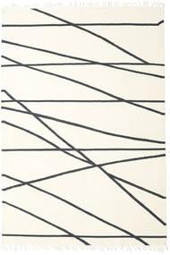 Cross Lines - Valkea/Musta Matto 200X300 Moderni Käsinkudottu Beige/Valkoinen/Creme (Villa, Intia)