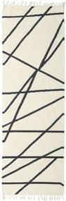 Cross Lines - Valkea/Musta Matto 80X350 Moderni Käsinkudottu Käytävämatto Beige/Tummanharmaa (Villa, Intia)