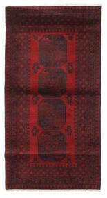 Afghan Matto 103X193 Itämainen Käsinsolmittu Tummanpunainen/Musta (Villa, Afganistan)