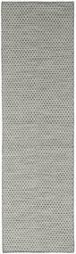 Kelim Honey Comb - Harmaa Matto 80X440 Moderni Käsinkudottu Käytävämatto Tummanharmaa/Vaaleanharmaa (Villa, Intia)