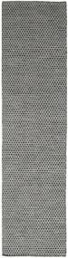 Kelim Honey Comb - Musta/Harmaa Matto 80X440 Moderni Käsinkudottu Käytävämatto Tummanharmaa/Vaaleanharmaa (Villa, Intia)