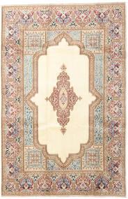 Kerman Matto 200X303 Itämainen Käsinsolmittu Beige/Tummanruskea (Villa, Persia/Iran)