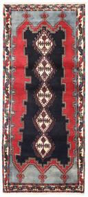 Afshar/Sirjan Matto 90X200 Itämainen Käsinsolmittu Käytävämatto Musta/Tummanpunainen (Villa, Persia/Iran)