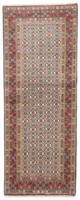 Moud Matto 75X190 Itämainen Käsinsolmittu Käytävämatto Vaaleanharmaa/Tummanruskea (Villa/Silkki, Persia/Iran)