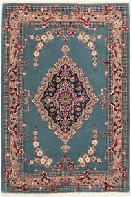 Isfahan Silkkiloimi Matto 85X123 Itämainen Käsinsolmittu Siniturkoosi/Musta (Villa/Silkki, Persia/Iran)